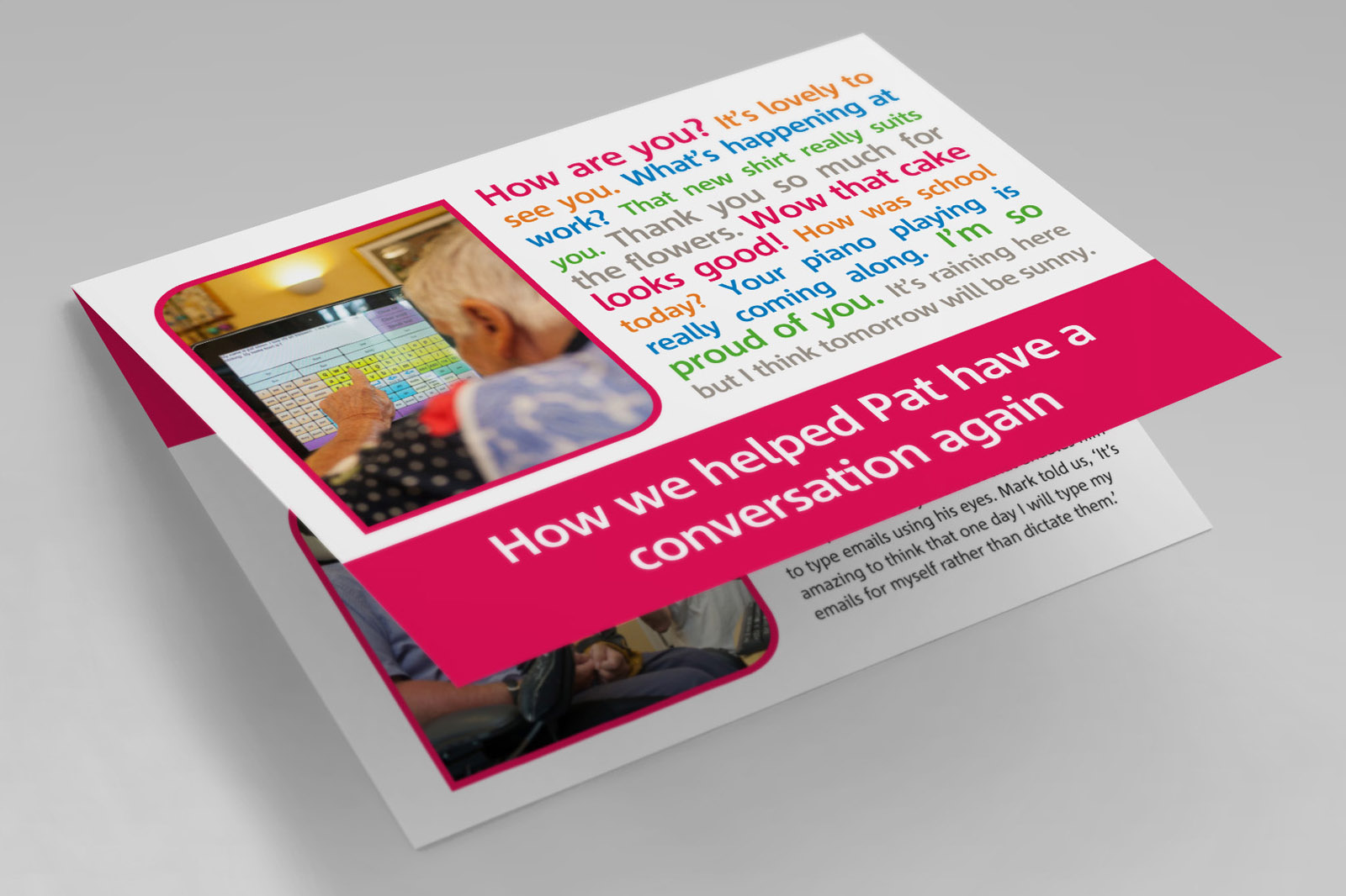 charity mailing leaflet artwork